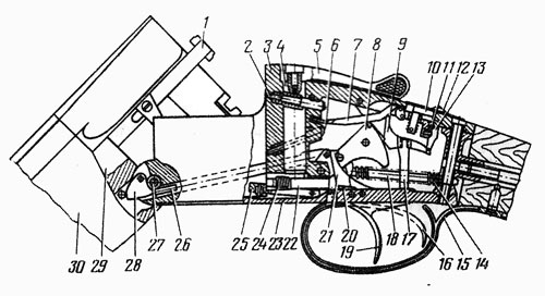 Схема механизмов ружья ИЖ-27: